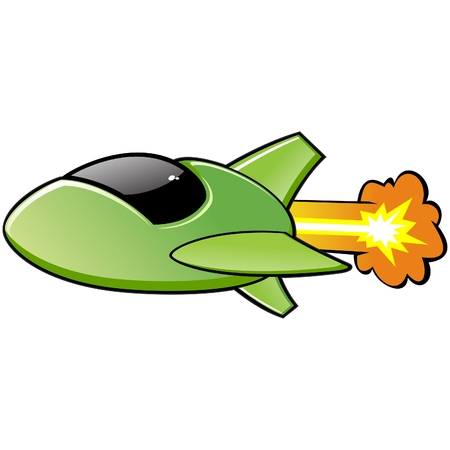 Vector illustration of a cartoon spaceship  No radial gradient, transparency, gradient mesh  Created in Adobe Illustrator