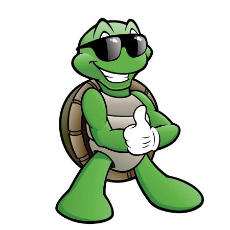 선글라스를 착용하는 만화 거북이