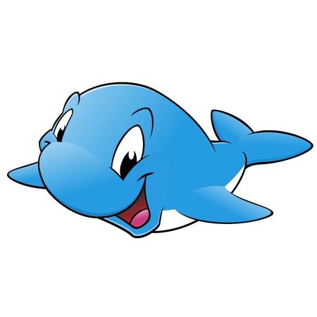 ballena azul: Sonrisa feliz de la ballena azul Vectores