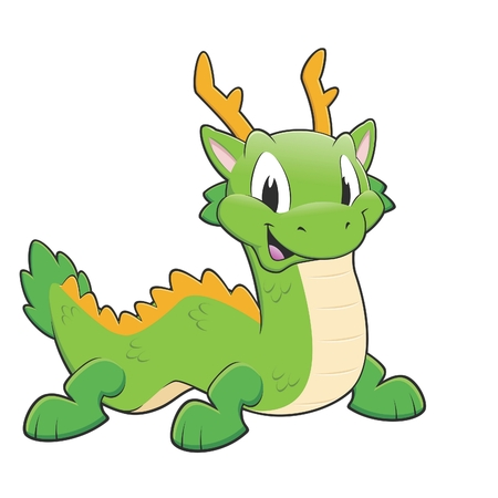 Vector illustration of a green chinese dragon