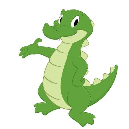 alligator isolated: Cartoon crocodile.