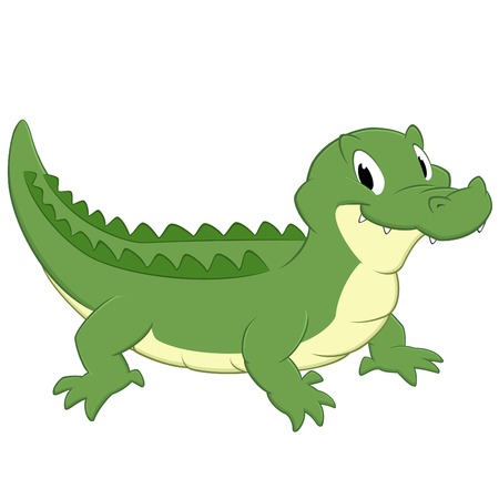 Cartoon crocodile. Isolated object for design element Illustration