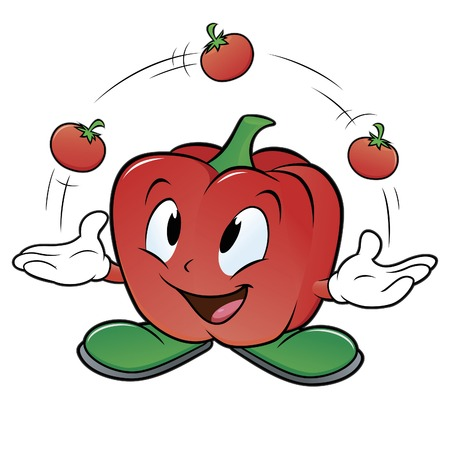 Vector illustration of a cartoon bell pepper juggling three tomatoes Illustration