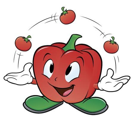 Vector illustration of a cartoon bell pepper juggling three tomatoes Иллюстрация
