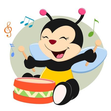 뮤지컬 클래스에서 바닥 드럼을 치고 아기 꿀벌 일러스트