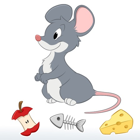 Vector illustration of a cute cartoon mouse.  Illustration