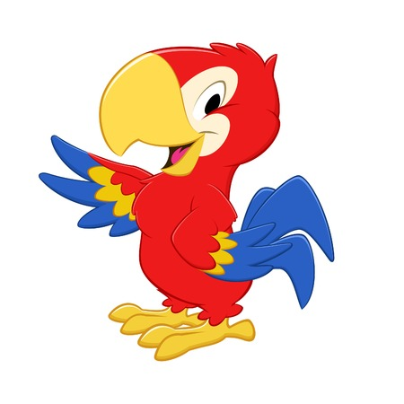 macaw parrot: Vector illustration of a cartoon tri-colored parrot for design element