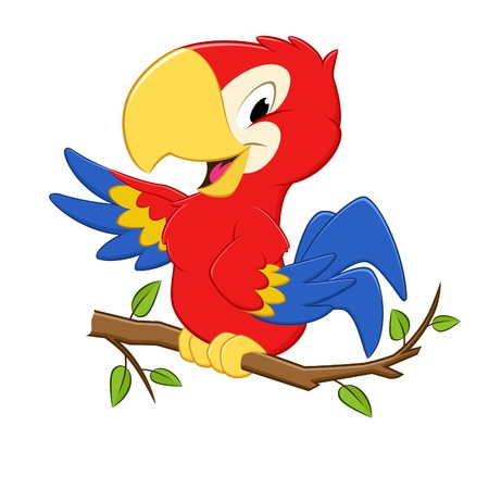 rúdon ülés: Vektoros illusztráció egy rajzfilm háromszínű papagáj a design elem