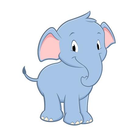Vector illustration of a cute baby elephant for design element Illustration