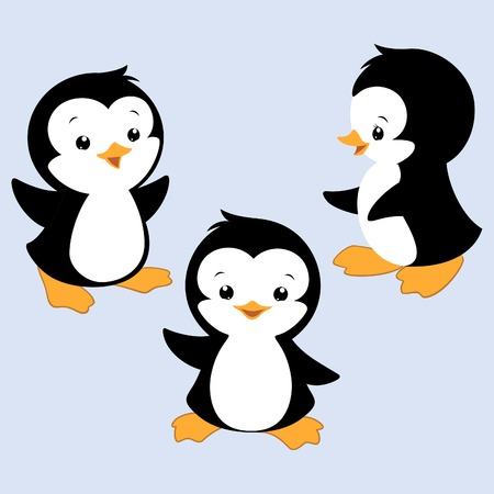 Vector illustration of three baby penguins for design element