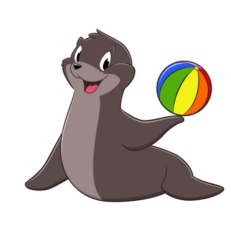 seal brown: Vector illustration of a sea lion holding a toy ball