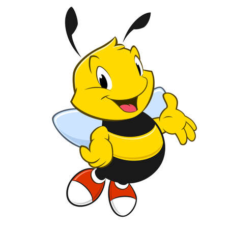 Vector illustration of a cartoon bee with red shoes
