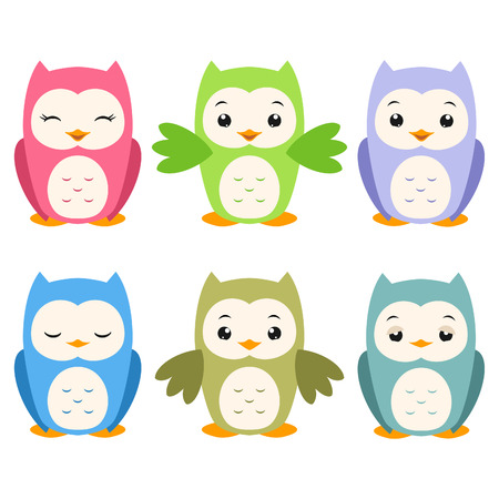 owl cartoon: Vector illustration of a set of whimsical cartoon owls