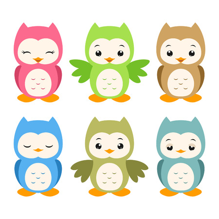 Vector illustration of a set of whimsical cartoon owls Vector