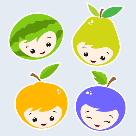 Cute Cartoon Fruit Faces   Vector