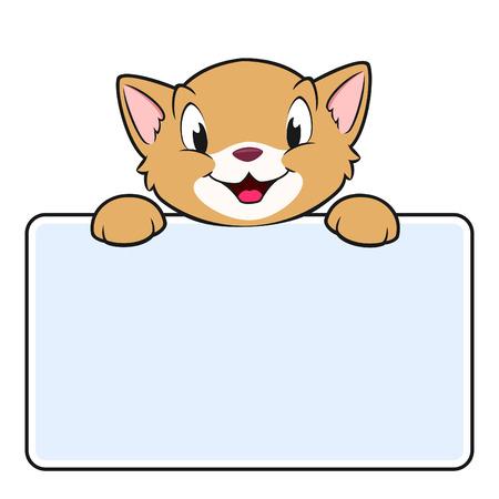 bebe a bordo: Ilustraci�n vectorial de un gato de dibujos animados con un cartel en blanco