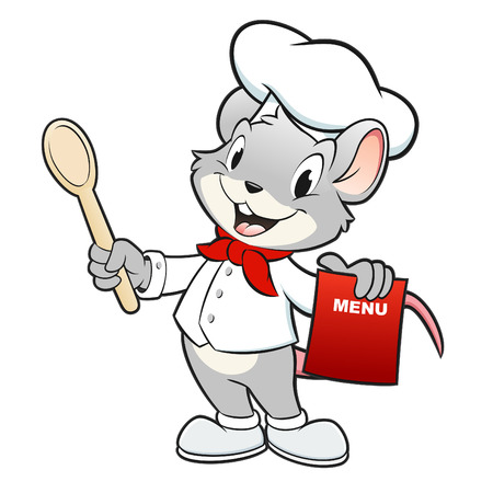 Vector illustration of a mouse chef holding a wooden spoon