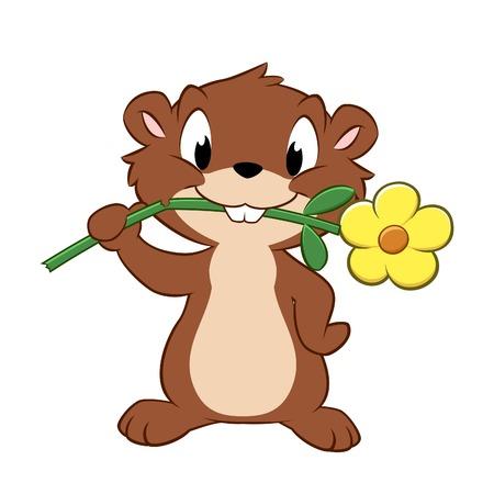Vector illustration of a cartoon gopher devouring garden flower
