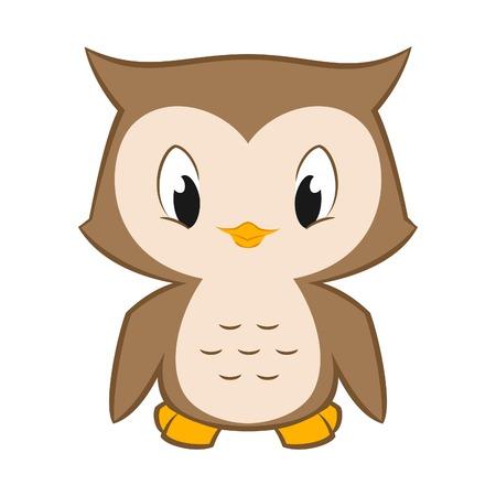 Vector cartoon illustration of a cute little owl