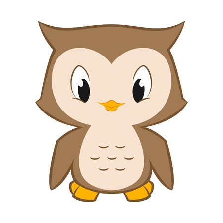 Vector cartoon illustration of a cute little owl