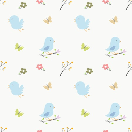 soft colored cute birds seamless pattern for decoration