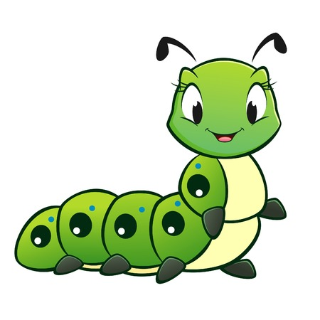 animal cartoon: Cartoon vector cute caterpillar