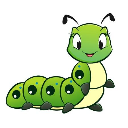 Cartoon vector cute caterpillar