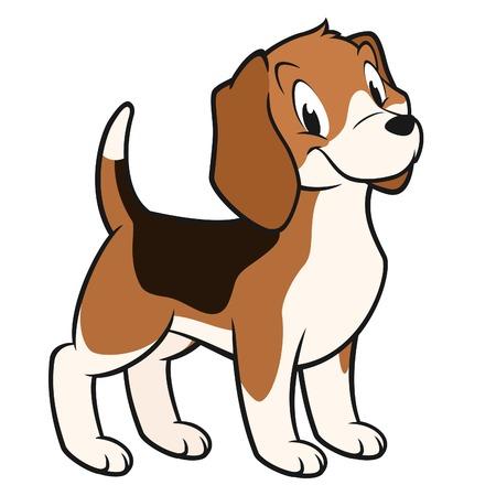 Ilustración vectorial de dibujos animados de un beagle divertido para el diseño eleme