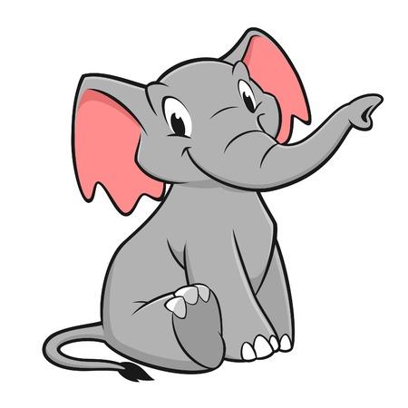 디자인 요소에 대 한 재미있는 코끼리의 벡터 일러스트 레이 션