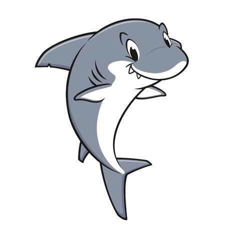 Vector illustration of a smiling friendly shark for design element