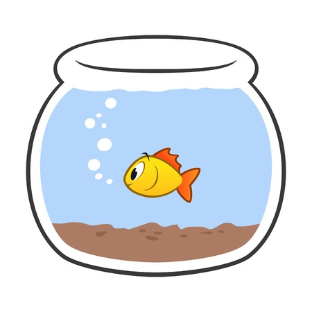 Illustration of cartoon fish bowl. Grouped and layered for easy editing