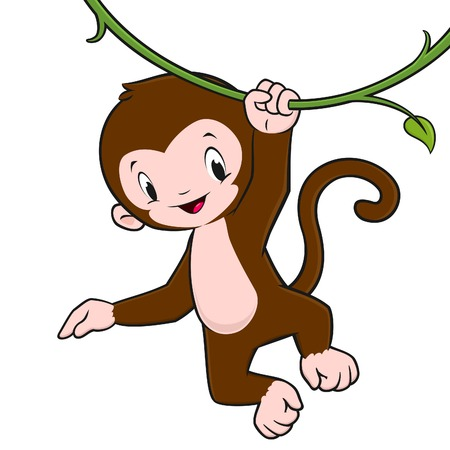 monkey clip: Cartoon baby monkey hanging from a vine for design element