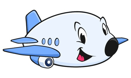 Vector illustration of a cute cartoon airplane for design element