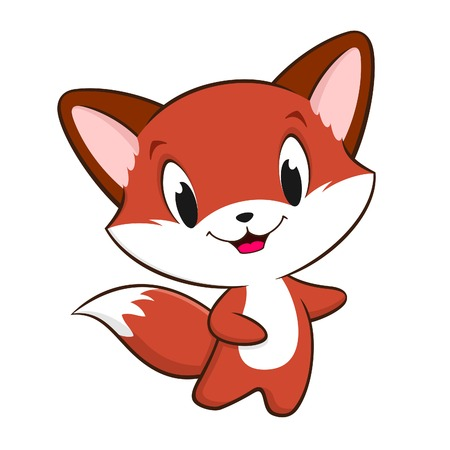 Vector illustration of cute cartoon baby fox for design element. All flat color no gradient, no transparencies, easy editing. EPS 8