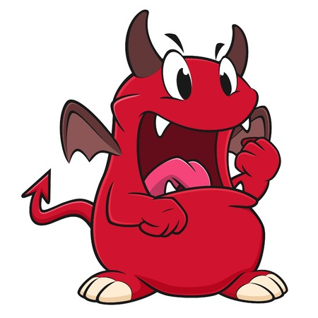 Vector illustration of an angry red devil clenching its fist Illustration