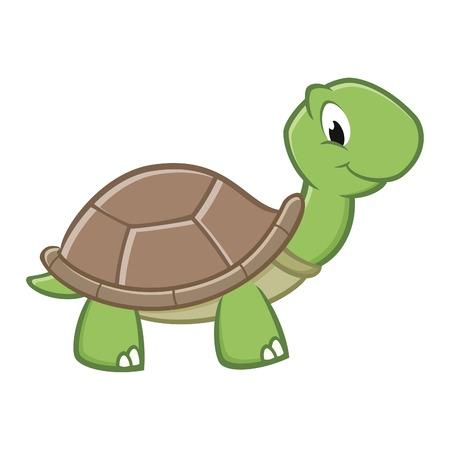 tortuga caricatura: Ilustración vectorial de una tortuga de dibujos animados sonriendo. EPS 8 Vectores