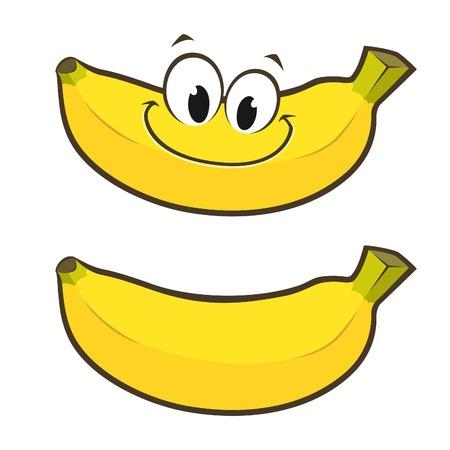 platano caricatura: Ilustración vectorial de dibujos animados sonriente del plátano