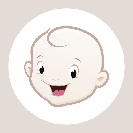 children art: Cartoon vector baby face for design element Illustration