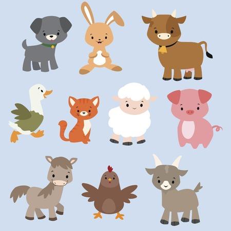 동물: 귀여운 만화 농장 동물의 집합 일러스트