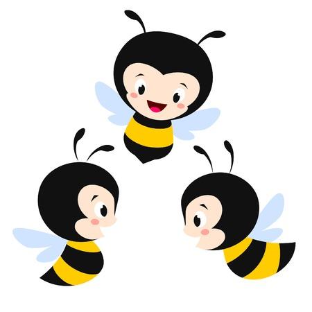 Vector illustration of three cute cartoon bees Ilustração