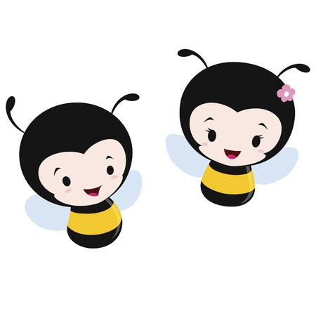 Vector illustration of two cute cartoon bees. Flat color, no transparency. EPS 8.