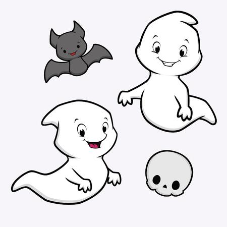 calavera caricatura: Ilustración del vector del tema de fantasma de la historieta divertida