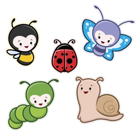 mariquitas: Ilustración vectorial de dibujos animados lindo animales de los insectos de jardín