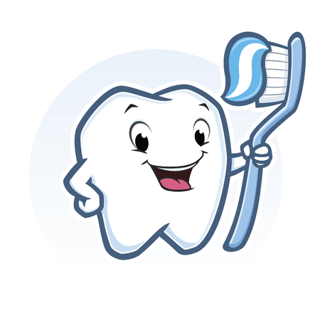 Vector illustration of cute cartoon tooth holding toothbrush