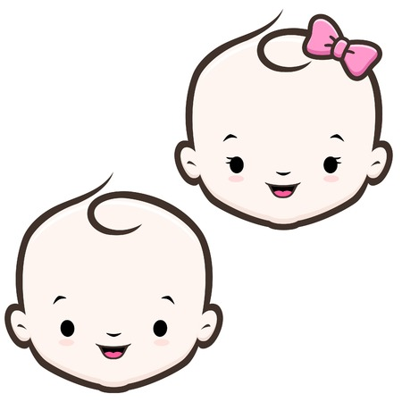 happy young: Cartoon icon vector baby face for design element
