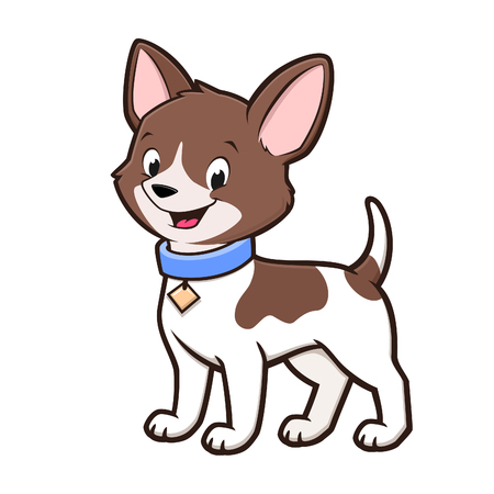 Cartoon vector illustration of a cute chihuahua for design element