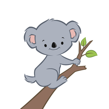 Vector illustration of a cute smiling koala on a branch