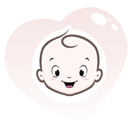 funny baby: Cartoon baby face in heart shaped frame