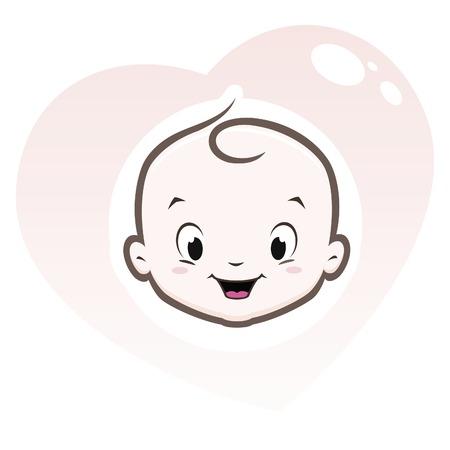 visage Cartoon bébé dans un cadre en forme de coeur