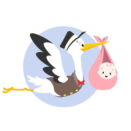 Vector cartoon illustration of a stork carrying baby